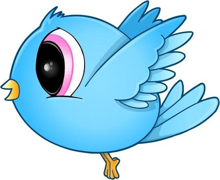 pajaro azul: Cute Blue Bird Art vectorial