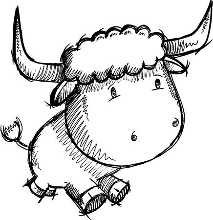 スケッチ落書き牛牛ベクトル アート