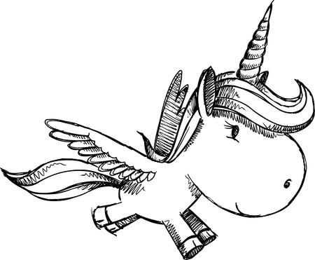 Sketch Doodle Unicorn Pegasus Alicorn Art Vector