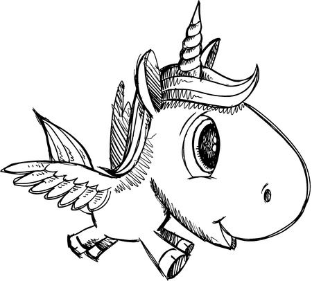 Sketch Doodle Unicorn Pegasus Alicorn Art Vector