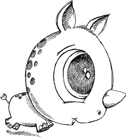 Cute Sketch Doodle Rhino  Art
