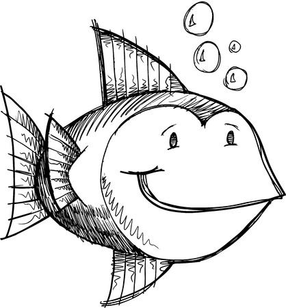 Fish Sketch Doodle  Ilustrace