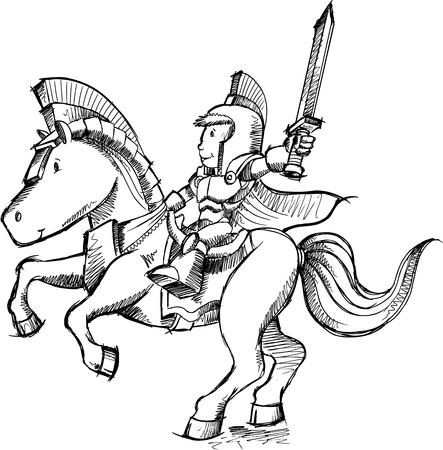 Knight Sketch Doodle  Vector