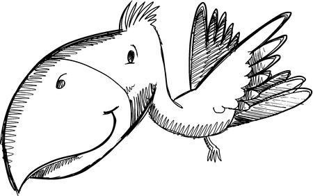 Tropical Bird Sketch Doodle