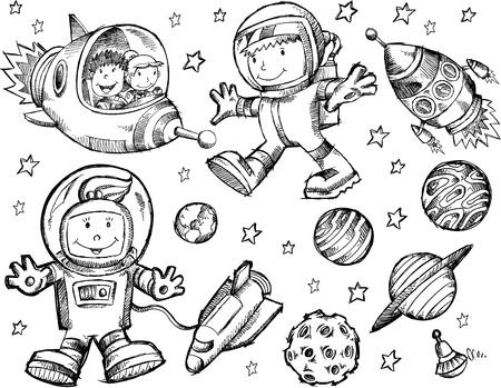 Sketch Doodle Espacio Ultraterrestre Foto de archivo - 18677963
