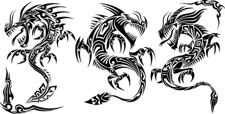 Iconic Dragons border frames Tattoo Tribal  Set Vector