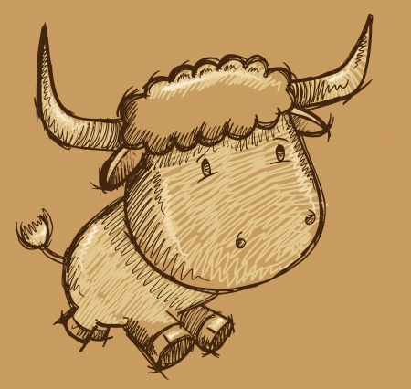 Cute Bull Cow Sketch Doodle Illustration Vector Art Ilustrace