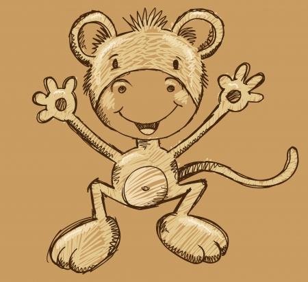 Monkey Ape Sketch Doodle Illustration Vector Art Ilustrace