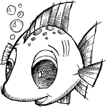 Cute Fish Sketch Doodle Illustration Vector Art