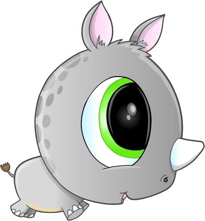 Cute Safari Rhino Vector Art Vector