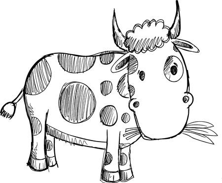 Cow Sketch Doodle Drawing Illustration Art