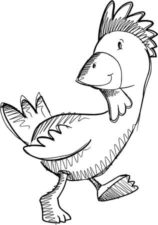 Chicken Rooster Sketch Doodle Drawing Illustration Art Ilustrace