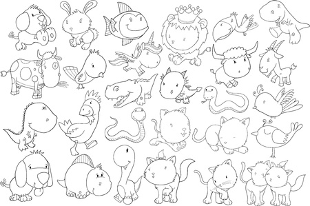 Animal Doodle Illustration Set Stock Vector - 19187395