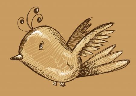 Cute Bird Sketch Doodle Illustration Art Ilustrace