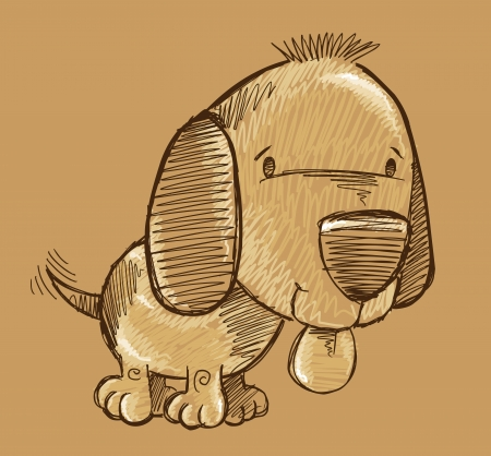 Puppy Dog Sketch Doodle Illustration Art Vector