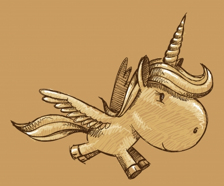 Unicorn Pegasus Sketch Doodle Illustration Art Vector