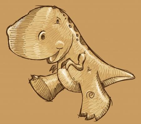 tiranosaurio rex: Dinosaur Sketch Doodle Art Vector