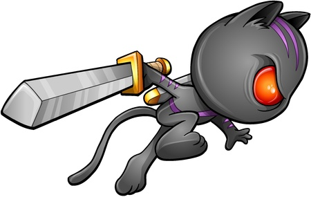 Cute Kitten Warrior Ninja Vector 일러스트