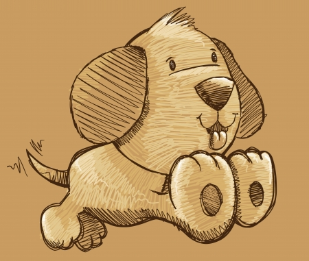 Puppy Dog Sketch Doodle Illustration Vector Art Vector