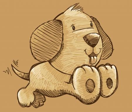 Puppy Dog Sketch Doodle Illustration Vector Art