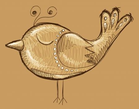 Cute Doodle Sketch Bird