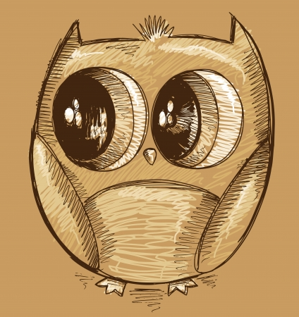 owl illustration: Cute Doodle Sketch Owl Illustration