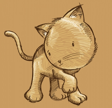 Kitten Cat Sketch Doodle Illustration Art
