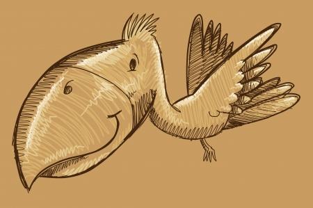 Tropical Bird Sketch Doodle Vector Art Ilustrace