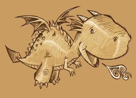 Cute Dragon Sketch Vector Art Ilustracja