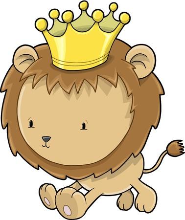 royal safari: Cute Lion Cub Prince Vector Illustration Art Illustration
