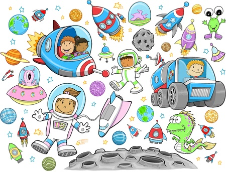 alien planet: Cute Outer Space Vector Illustration Design Set