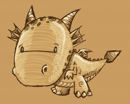 Cute Dragon Sketch Vector Art Stock Vector - 19798200