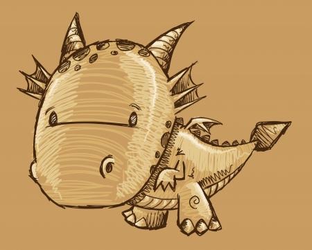 Cute Dragon Sketch Vector Art Çizim