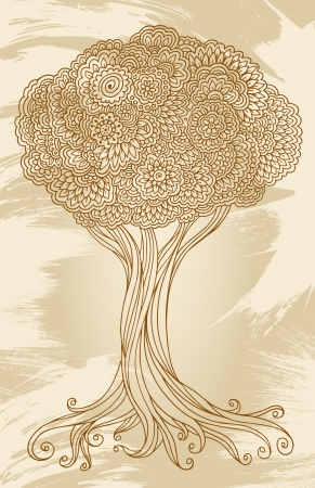 Doodle Henna Sketch Groovy Tree Vector Illustration  Vector