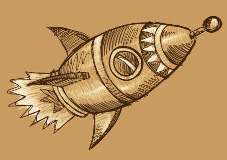 Rocket Sketch Doodle Illustration Art