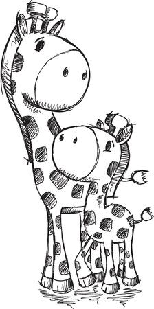 Sketch Doodle Cute Safari Giraffes Vector Ilustracja