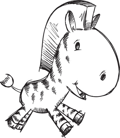 Sketch Doodle Cute Safari Zebra Vector Illustration