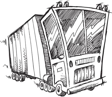 Sketch Doodle Truck Vector Illustration Art Stock Vector - 19991688