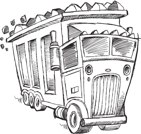 Doodle Sketch Dump Truck Vector Illustration Art Stock Vector - 20221297