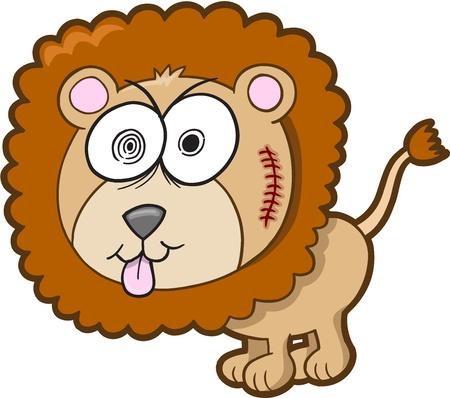 Crazy Insane Lion Vector Illustration Art