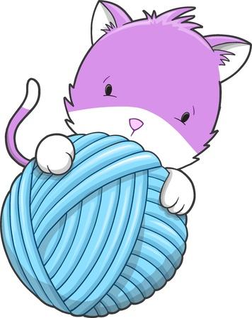 Cute Kitten Cat Pet Vector Illustration Art