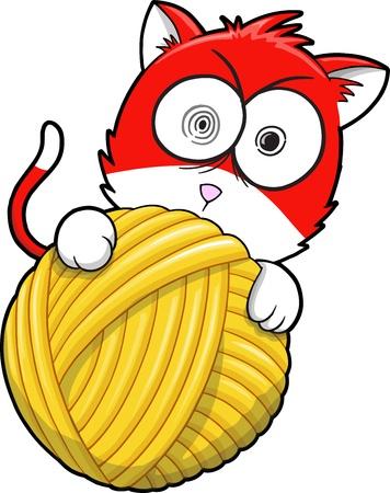 yarns: Crazy Insane Kitten Cat Pet Vector Illustration Art Illustration