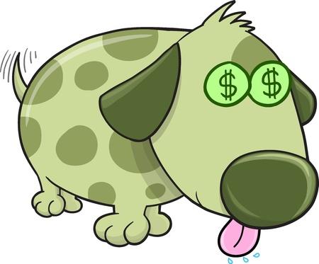 cash money: Money Puppy Dog Vector Illustration Art