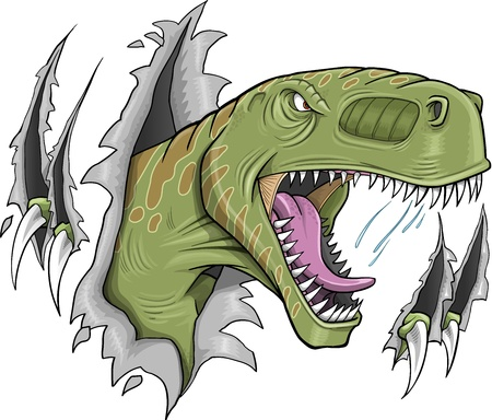 Tyrannosaurus Rex Dinosaur Vector Illustration   イラスト・ベクター素材