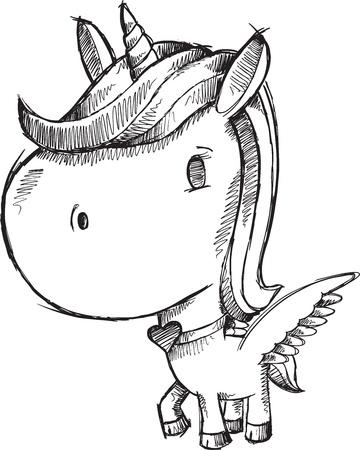 Sketch Doodle Unicorn Pony Vector Stock Vector - 20478704