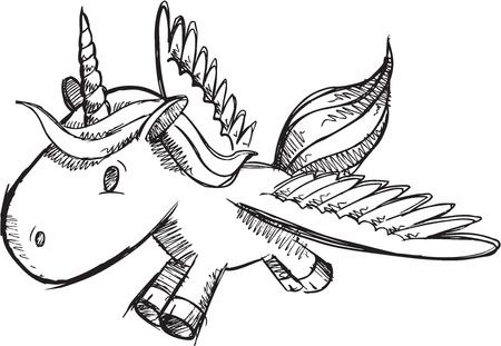 Sketch Doodle Unicorn Pony Vector Vector