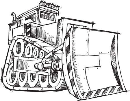 Bulldozer Doodle Sketch Illustration Art