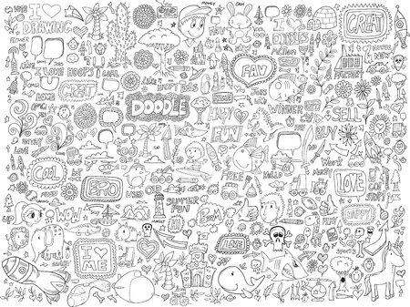 Doodle Sketch Animals People Flowers Set Vector