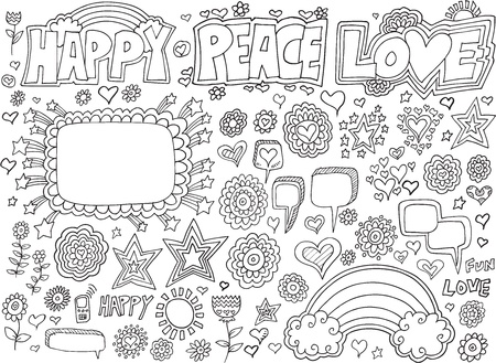 peace and love: Happy Peace Love Flower Doodle  Set Illustration