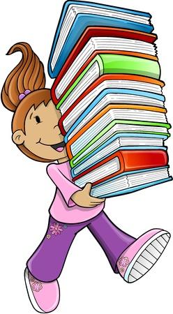 Girl Student Carrying Books  Illustration